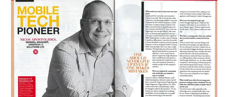 Datatech's General Manager Nicos Apostolides interview in GOLD magazine, June issue 2016